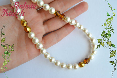 Pearl Necklace with Golden Amber Beads - Jamie Fraser's wedding gift to Claire - Outlander Jewelry