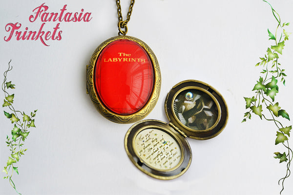 Labyrinth Locket - Red Book Cover - Within you + Stairs + Crystal Ball Pendant Necklace
