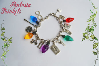 Stranger Things inspired Charm Bracelet with Large Christmas Tree Lights - All characters