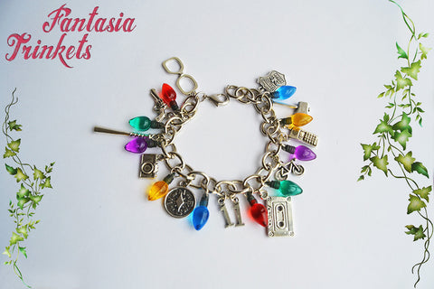 Stranger Things inspired Fully Loaded Charm Bracelet with Small Christmas Tree Lights - All characters