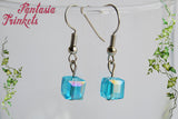 Tesseract Hook Earrings - Blue Glass Cubes - Avengers Infinity Stones Jewelry