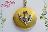 Thistle Locket (wedding vows inside) Scottish Flower on Golden Pendant Necklace - Outlander inspired