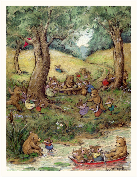 Bear Picnic Illustration Note Card