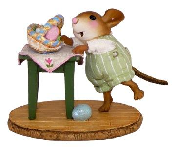 Mouse Tipping an Easter Basket