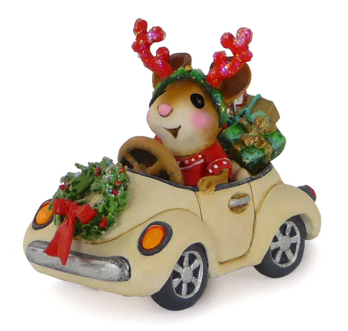 Mouse Driving a Car with Christmas Presents
