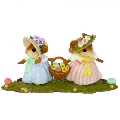 Two Mice in Bonnets Holding an Easter Basket