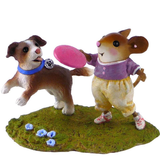 Girl Mouse Playing Fetch with Dog