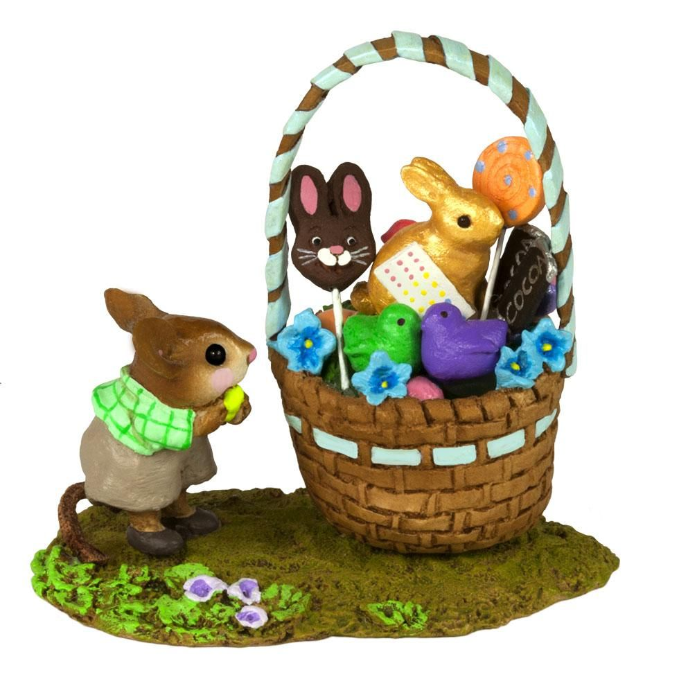 A Little Boy Mouse with His Easter Basket
