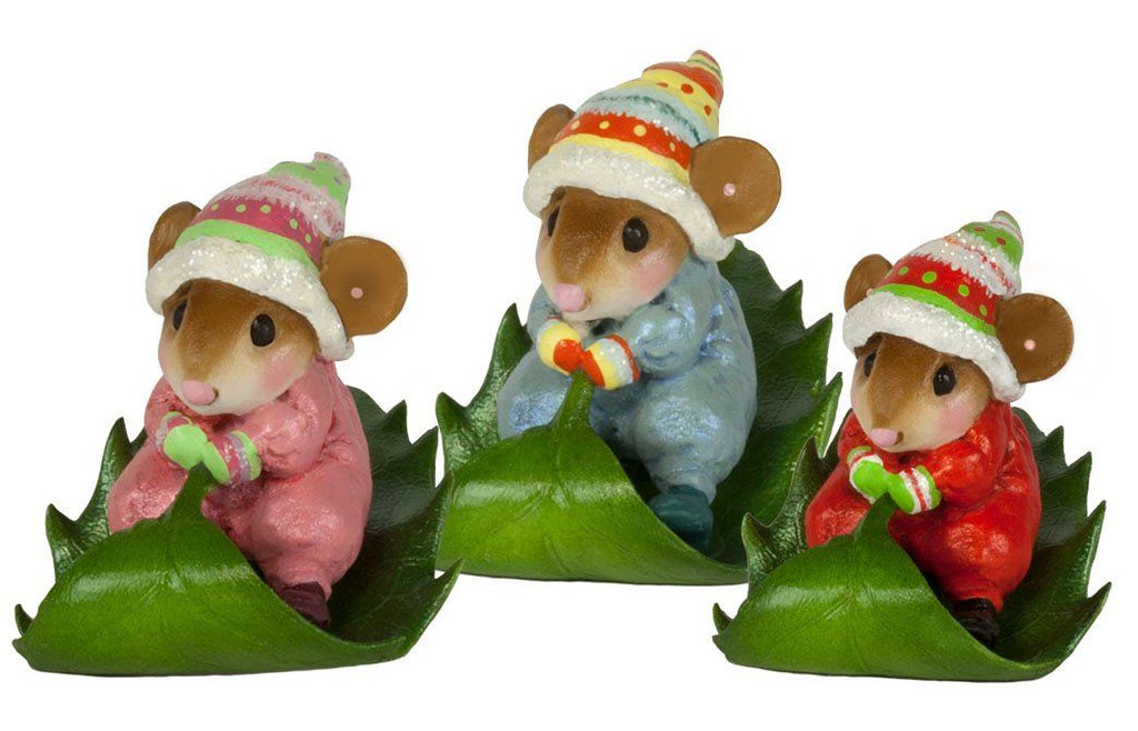 Mouse Bobsledding on a Holly Leaf
