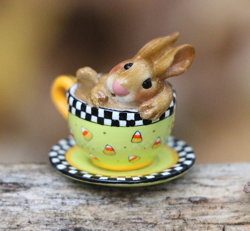 Highly Embellished Halloween Teacup Bunny (Cuppa Cottontail)