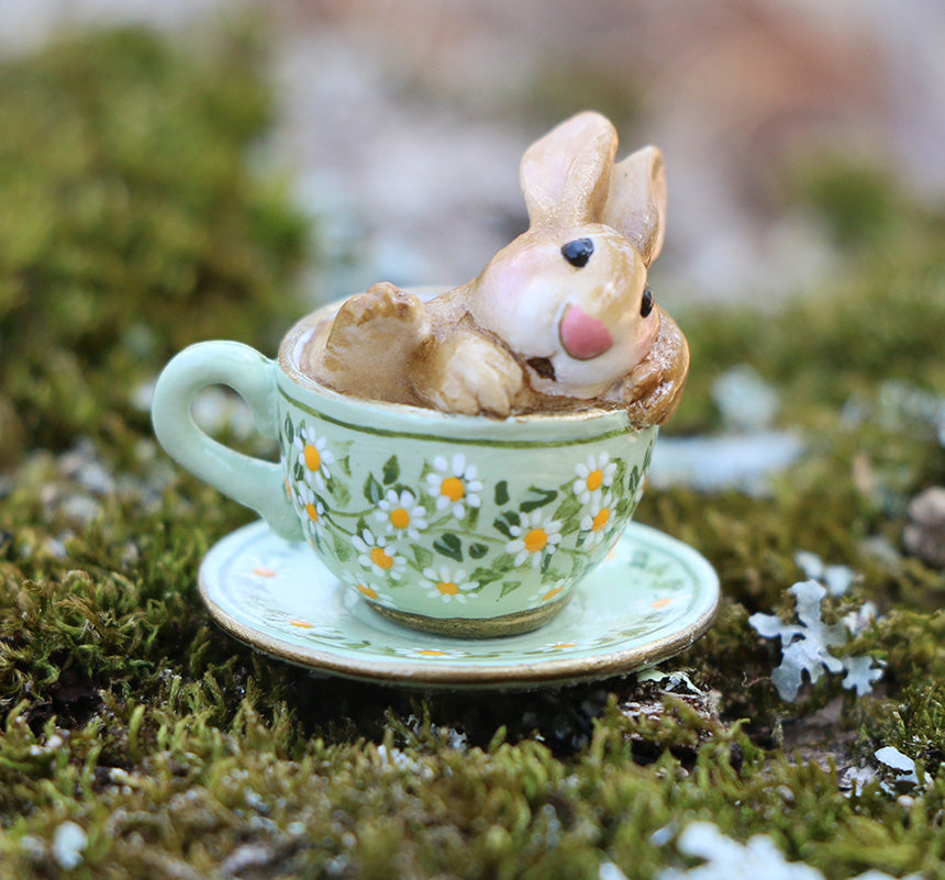 Highly Embellished Spring Teacup Bunny (Cuppa Cottontail)