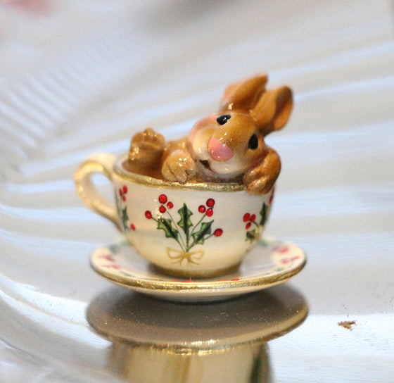 Highly Embellished Christmas Teacup Bunny (Cuppa Cottontail)