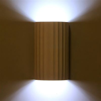 COL230 Fluted Column Wall Light in White Plaster Finish