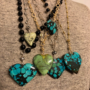 Turquoise Heart V Necklace