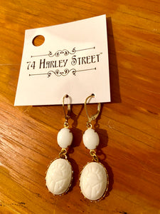 White Scarab Earrings