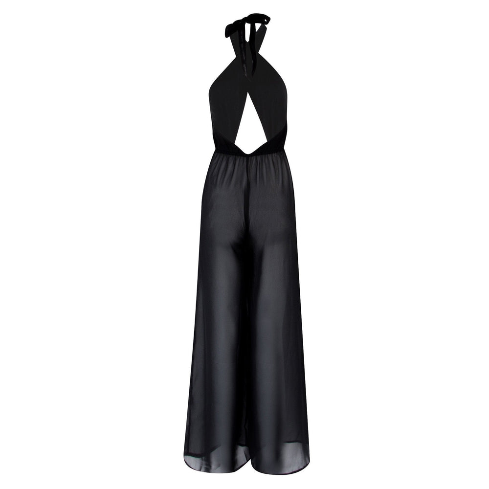 Meet Me At The Halter - Wrap Front Chiffon Holiday Jumpsuit