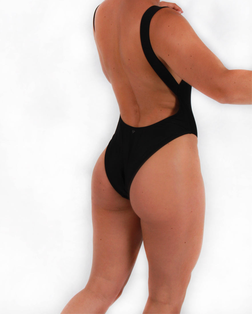 Black Swimsuit with D-ring Detailing