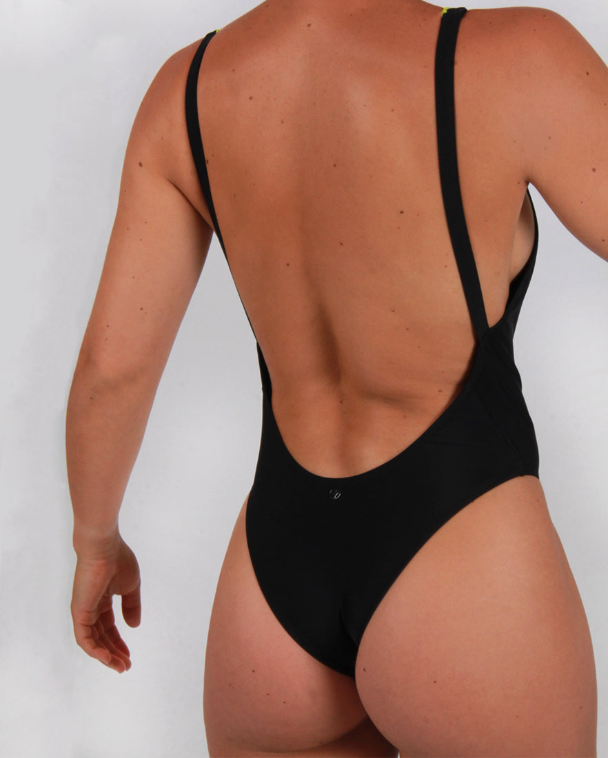 Zip Up Swimsuit in Black with Lime Detailing