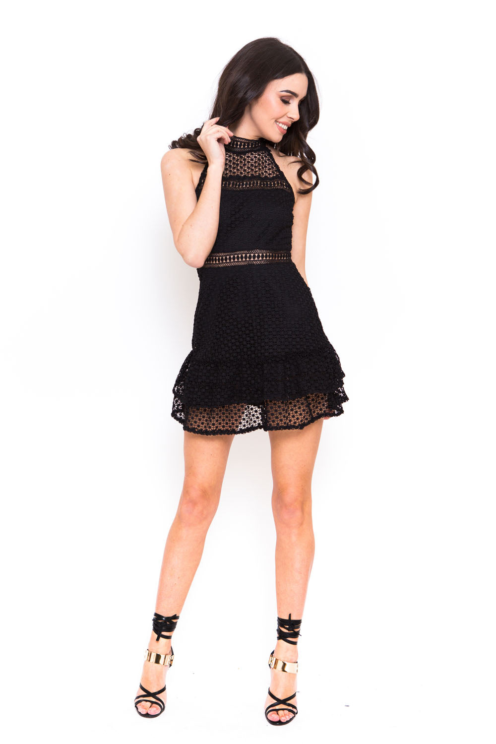 Black Dress in Crochet with Frill Detail