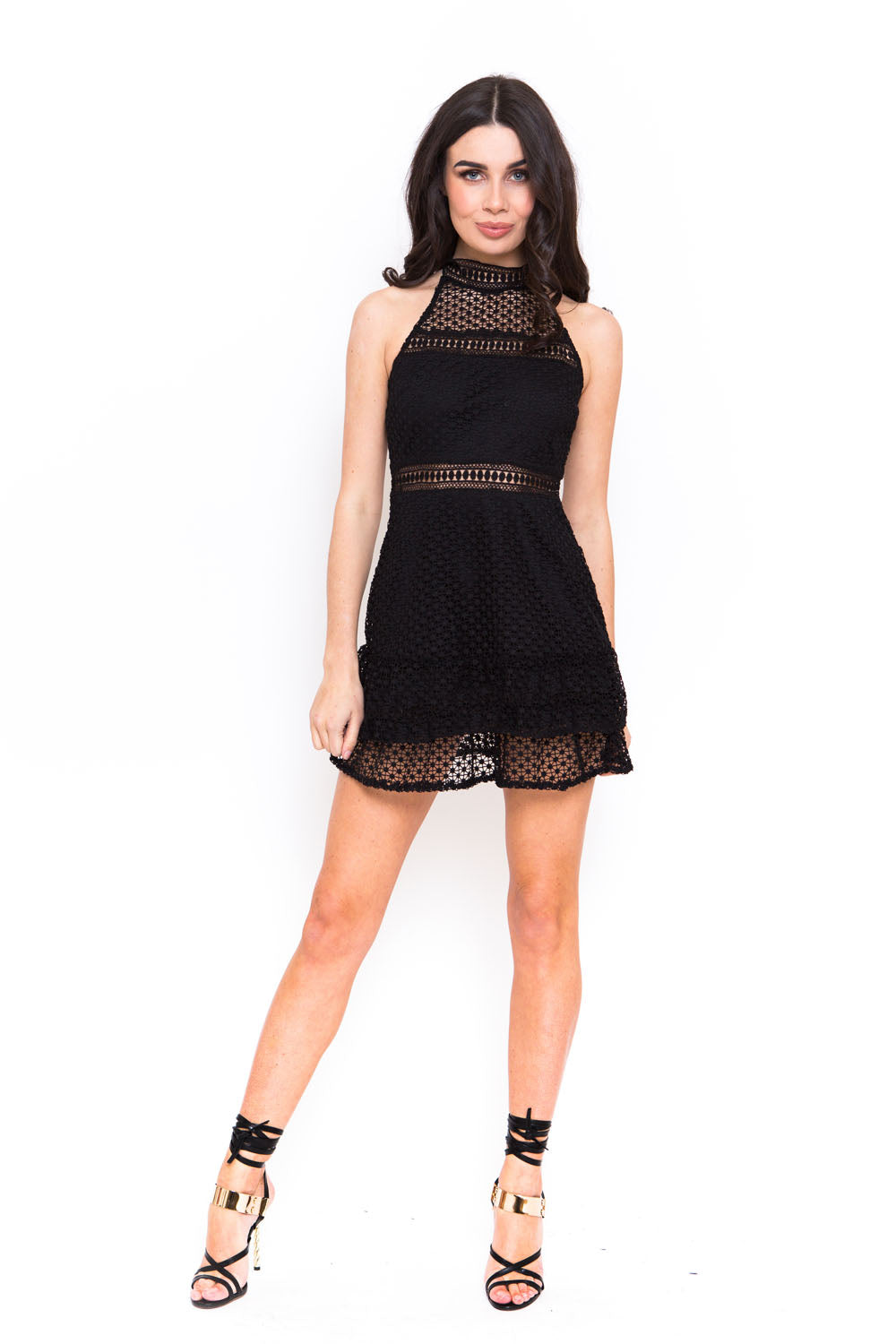 922546ff84c8 BLACK CUT OUT CROCHET FRILL DRESS – Candypants.com