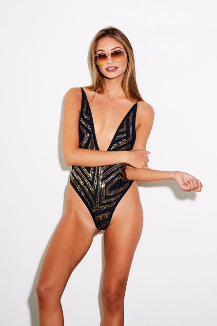 Sequin Plunge Swimsuit in Black
