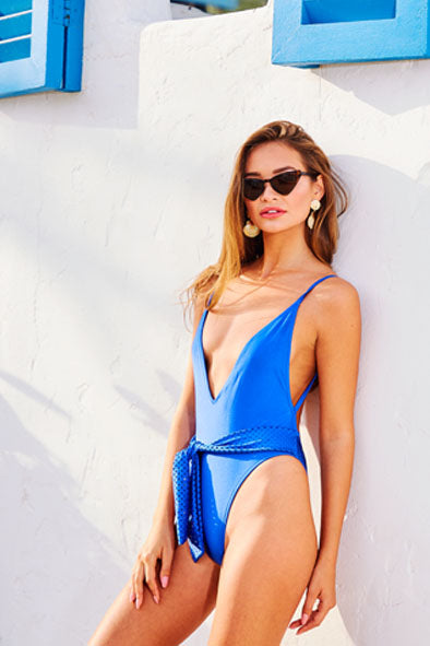 Backless Swimsuit in Cobalt Blue