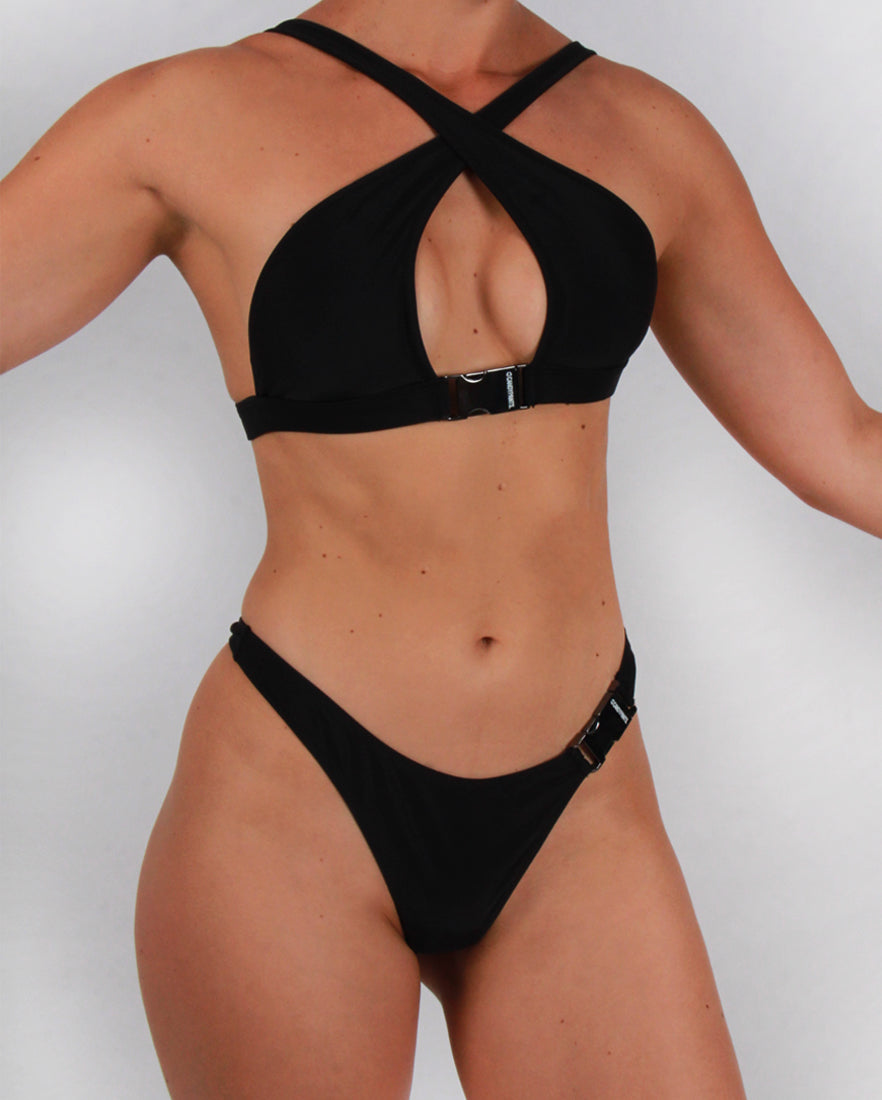 Cross Front Bikini Top with Buckle Detailing in Black