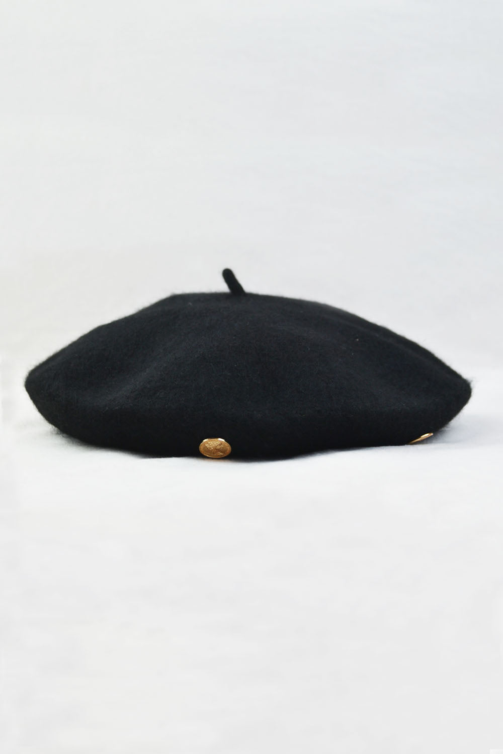 Black Beret with Gold Coin Detailing