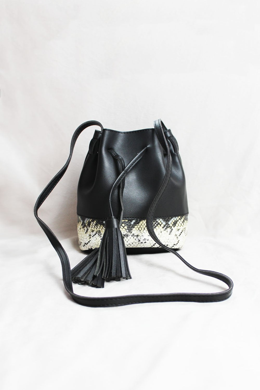 Black Snake Print Bucket Bag