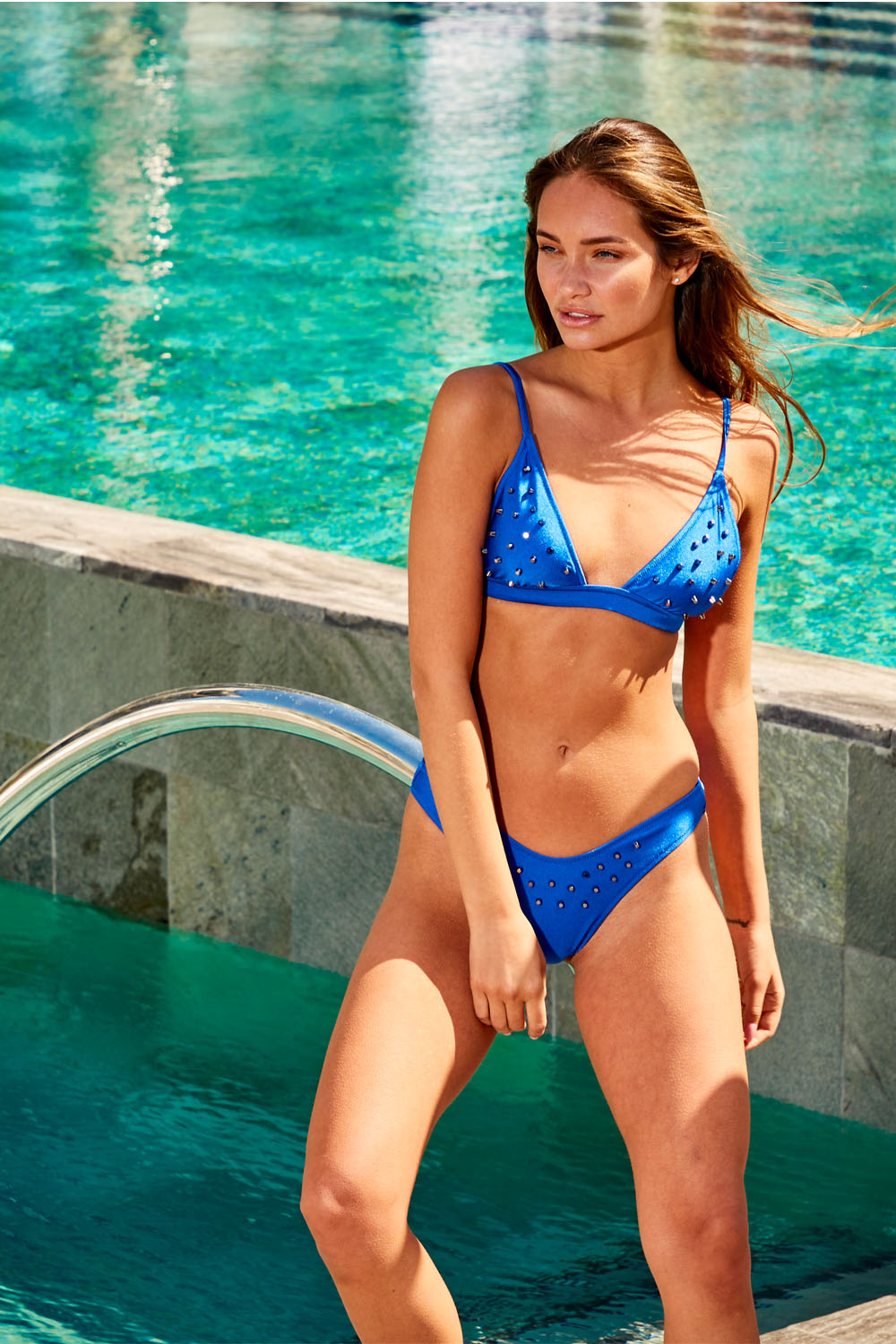 Cobalt Blue Triangle Bikini with Studs