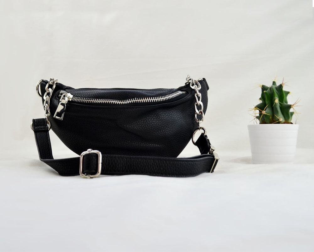 Black Faux Leather Bum Bag