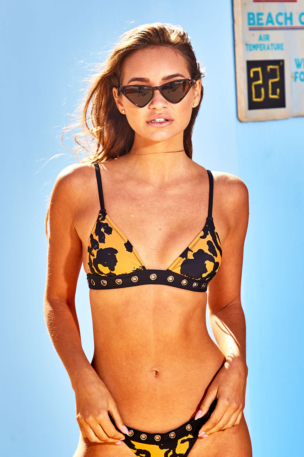 Animal Print Eyelet Triangle Bikini Top