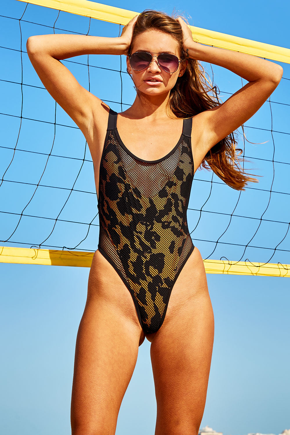 Animal Print Mesh Swimsuit