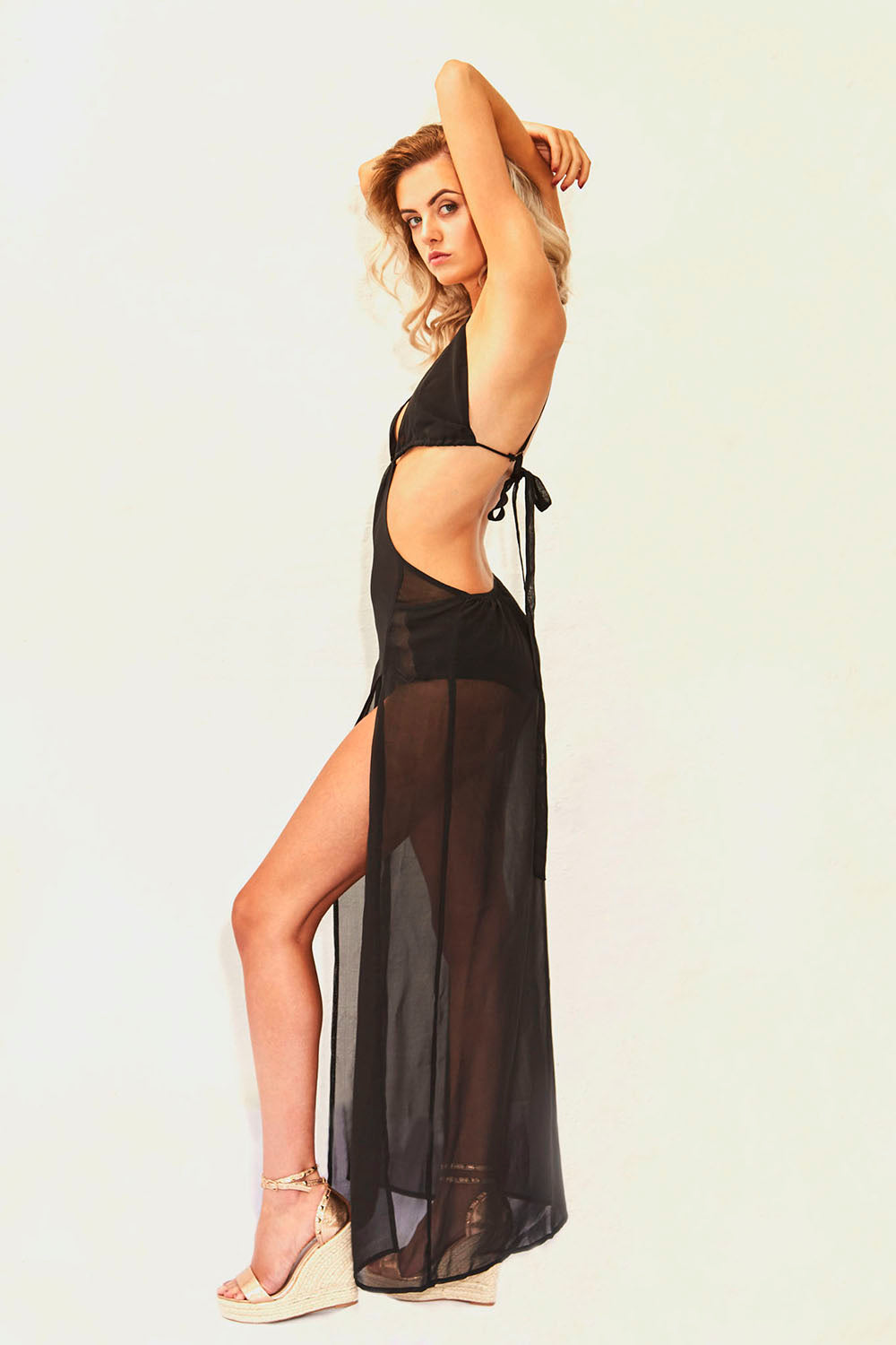 Plunge Chiffon Holiday Maxi Dress in Black
