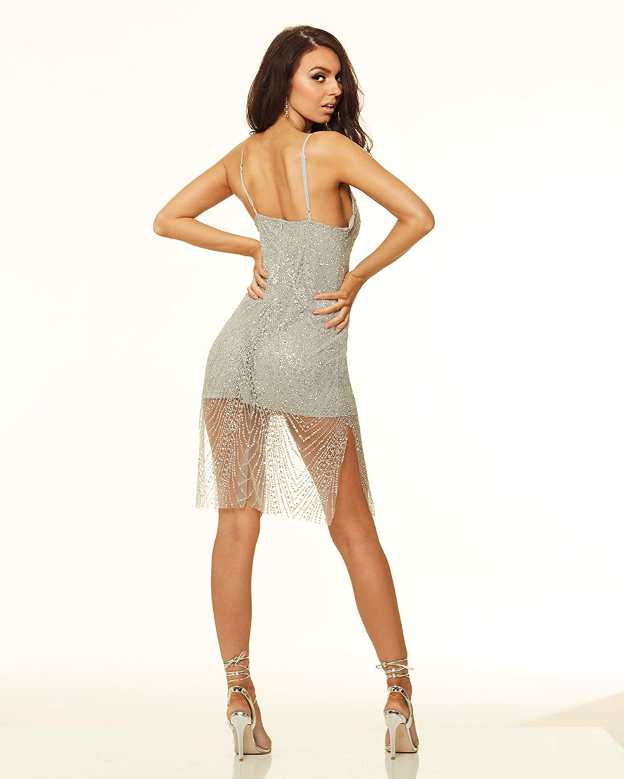 Gal That Glitters - Plunge Sparkle Bodycon Midi Dress