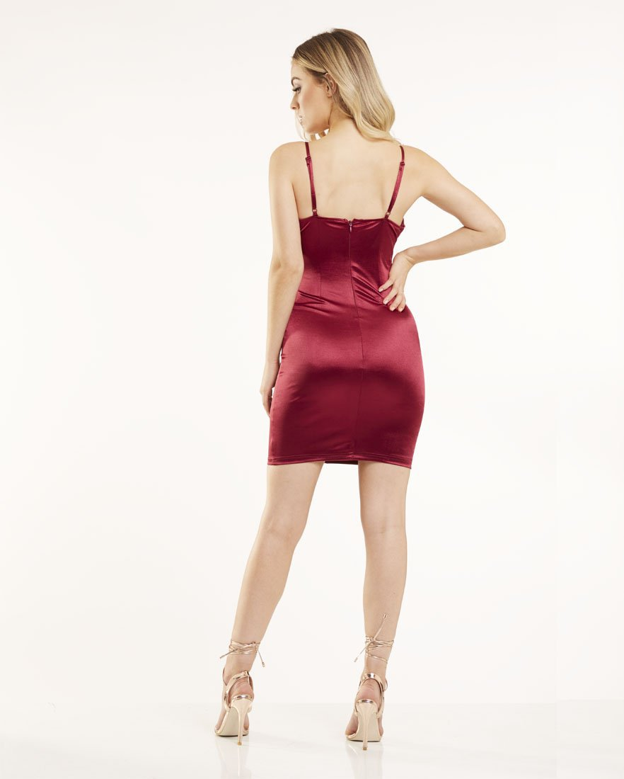 Wine Bodycon Satin Dress