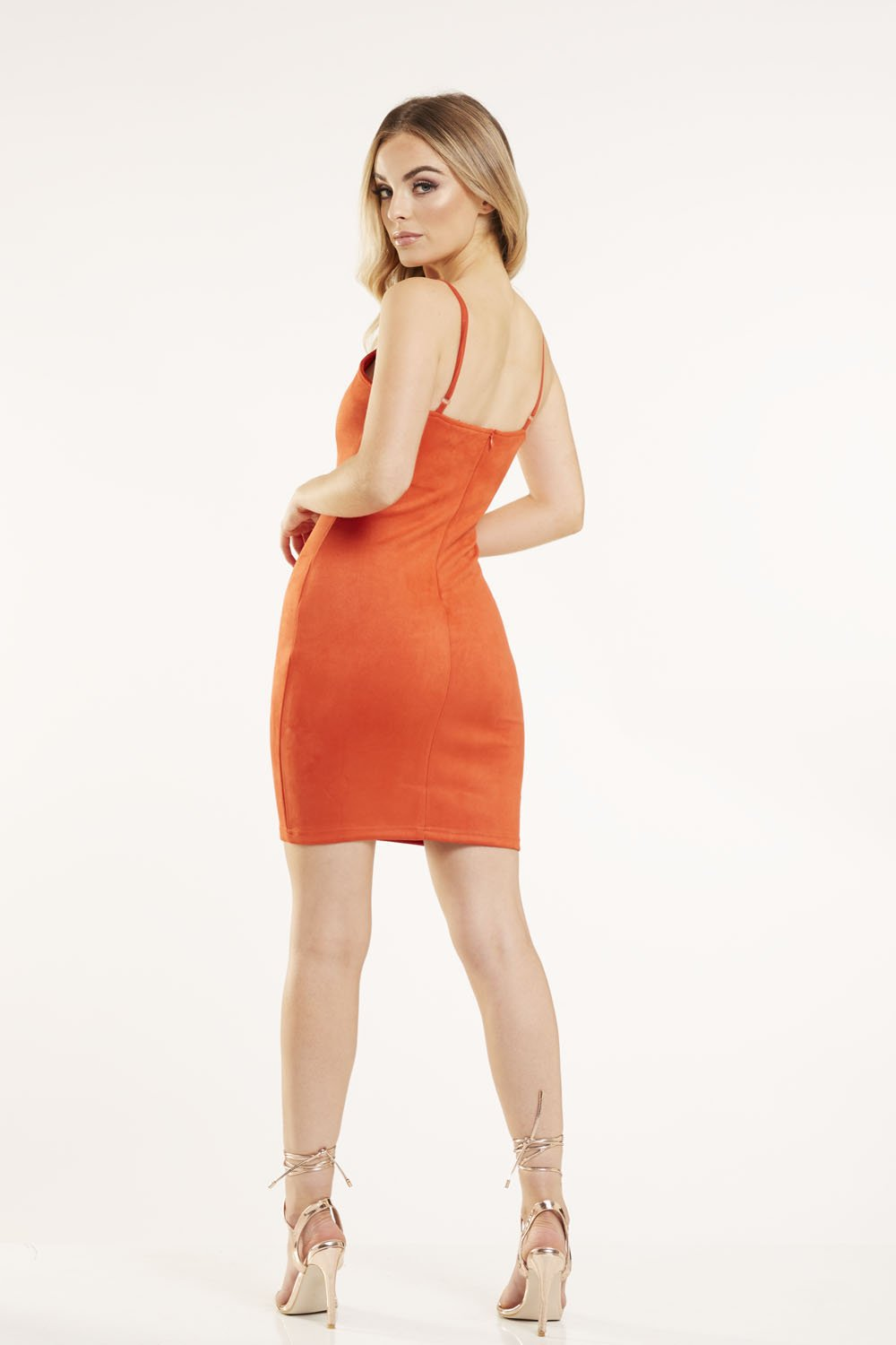 Orange Suede Bodycon Mini Dress