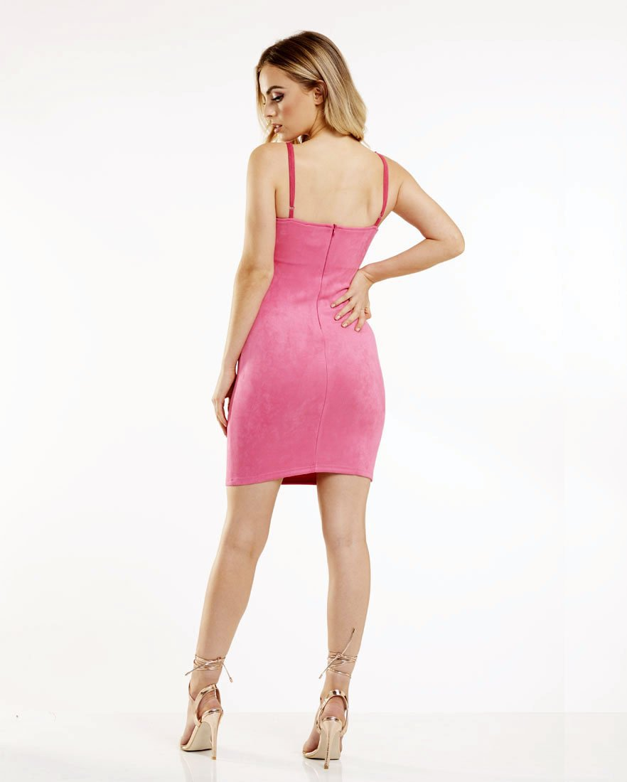 Pink Faux Suede Bodycon Mini Dress