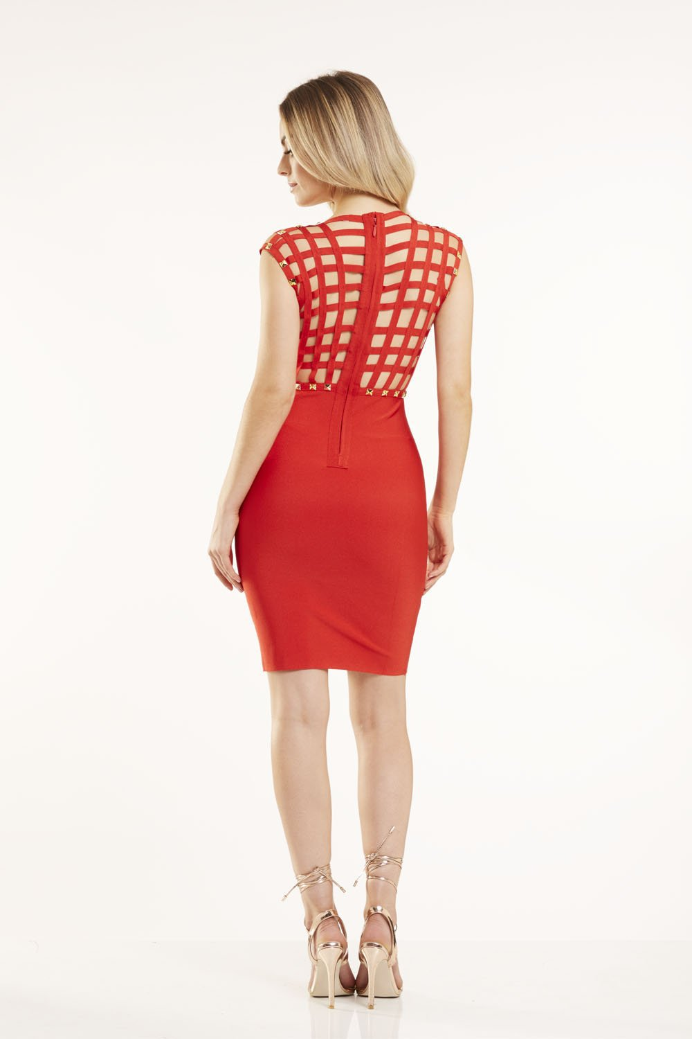 Red Studded Bodycon Dress