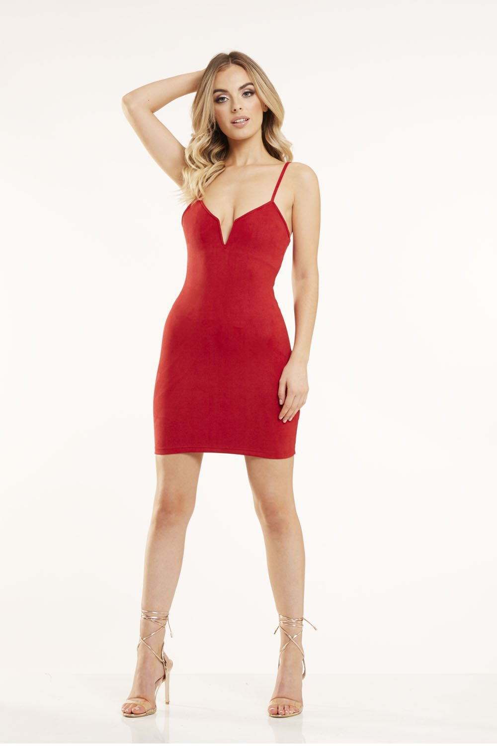 Red Faux Suede Bodycon Dress