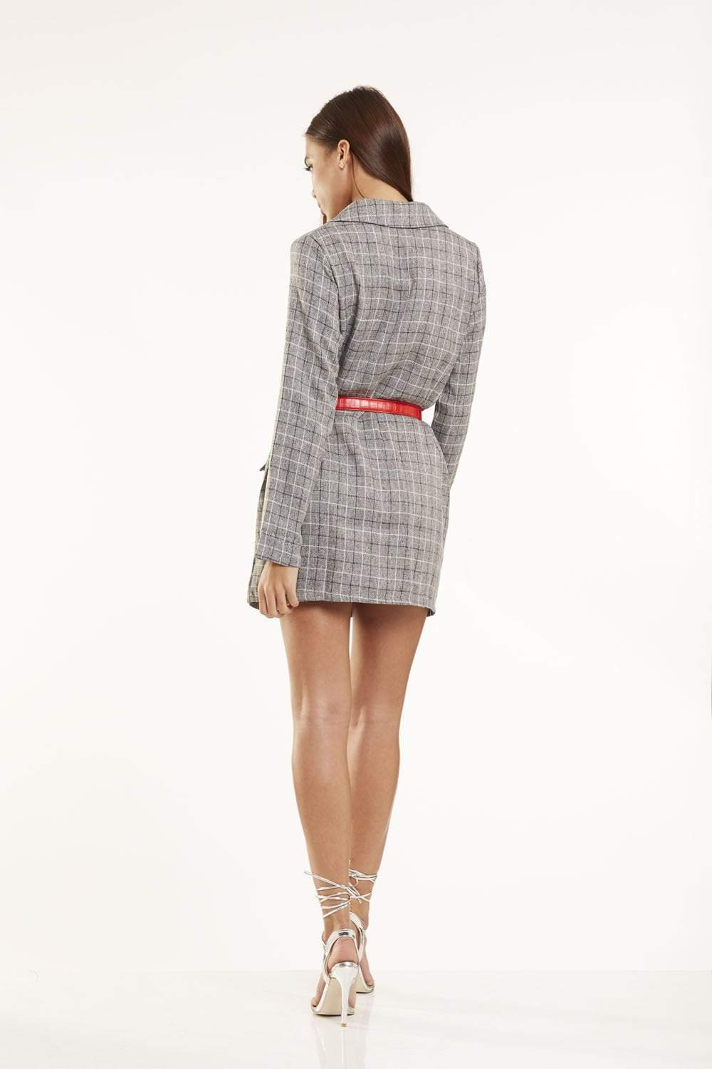 Tartan Double Breasted Blazer Dress