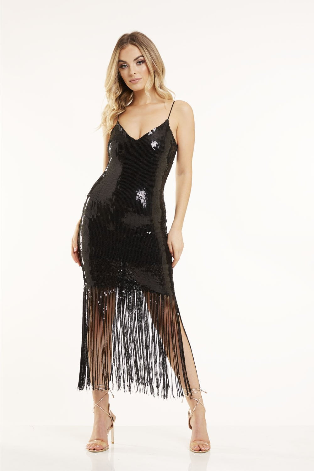 Black Sequin Tassel Dress