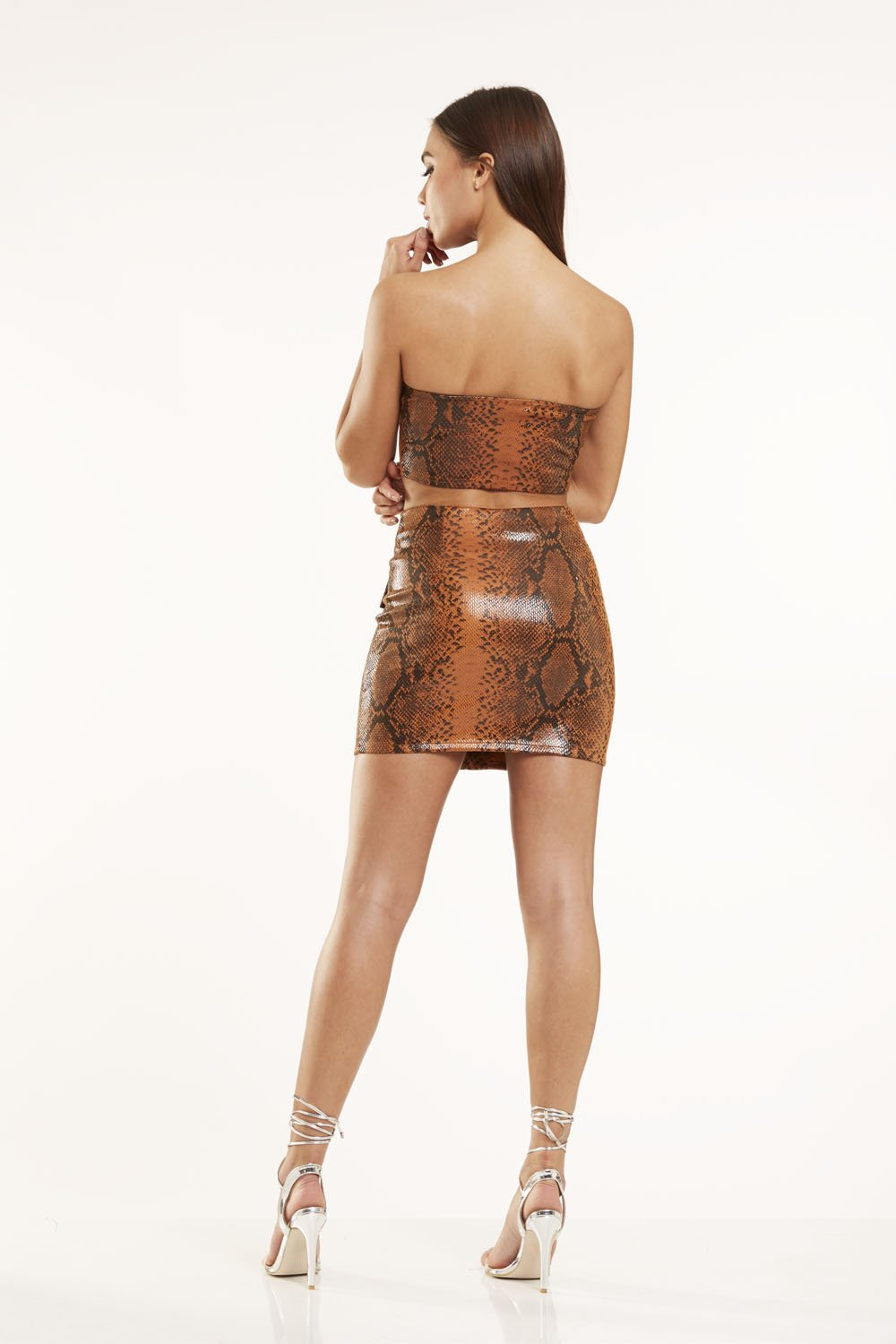 Brown snake co-ord Vinyl bandeau top