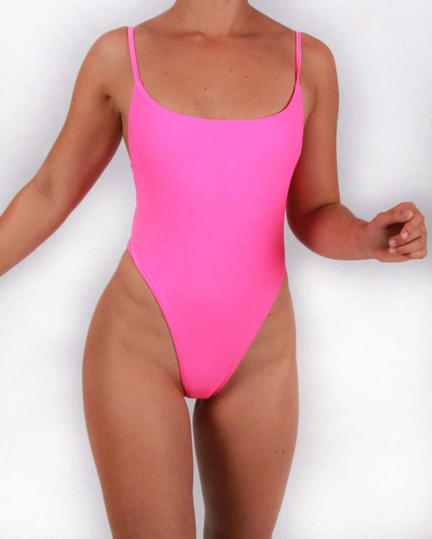 Neon Pink Swimsuit with Zip Detailing