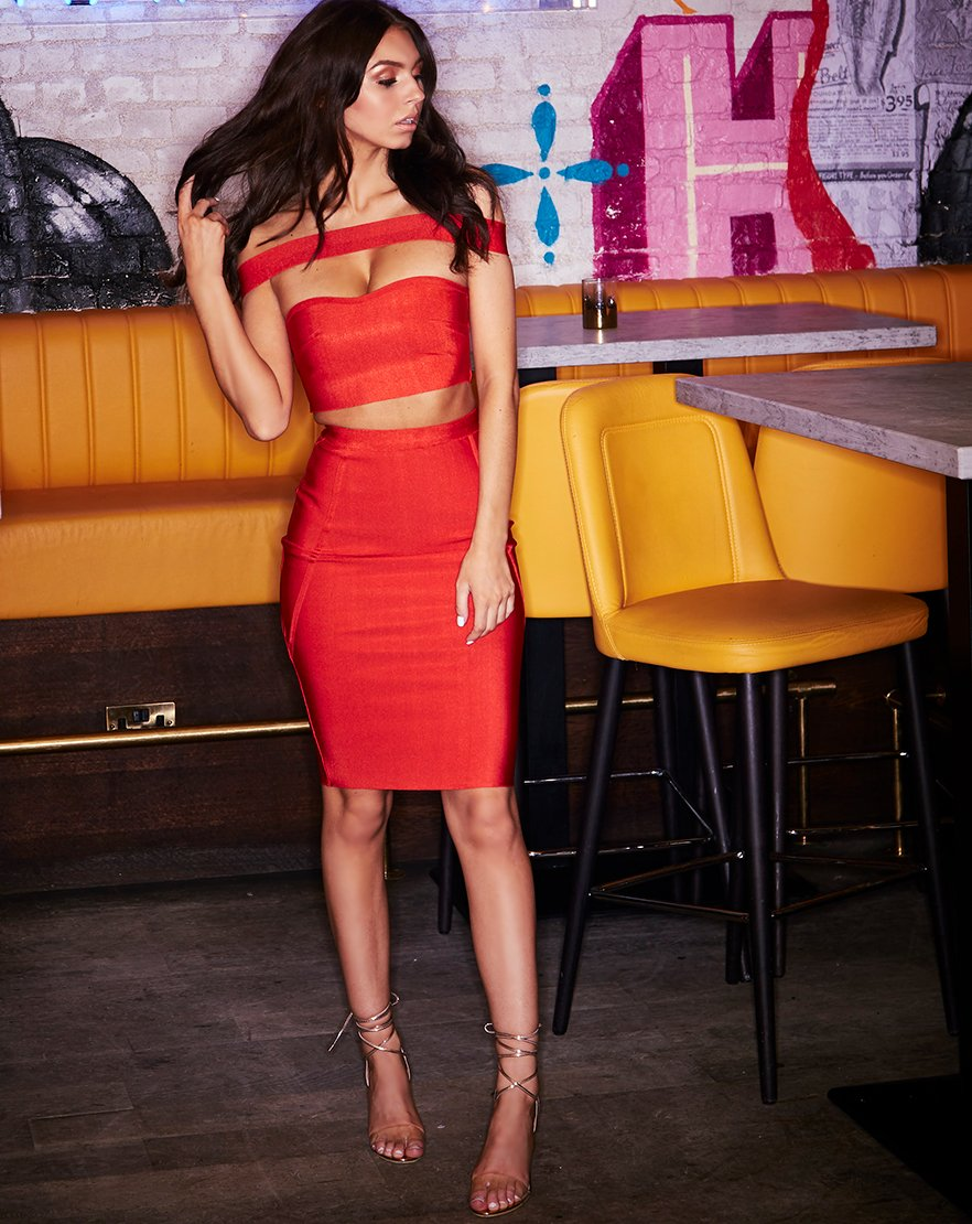 Excuse My Rouge - Red Bardot Crop Pencil Skirt Co-ord