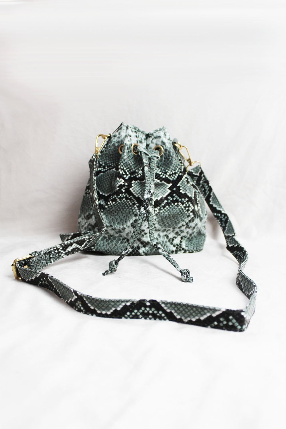 Dark Grey Snake Mini Bucket Bag