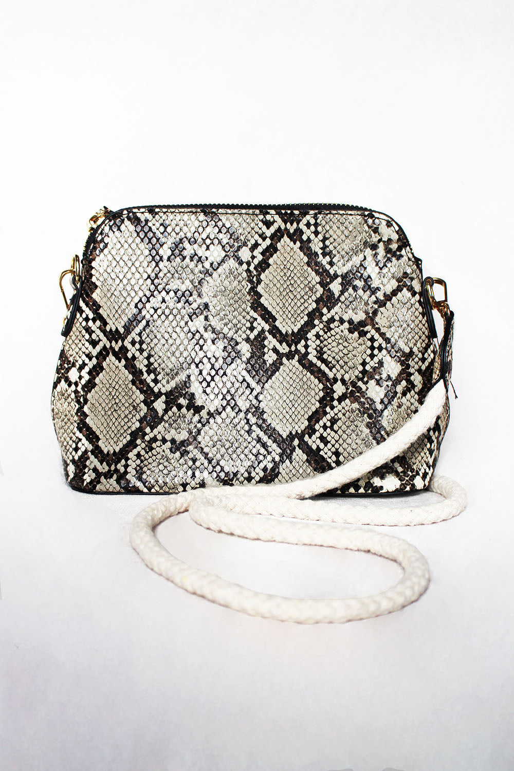 Snake Print Bag with Rope Strap