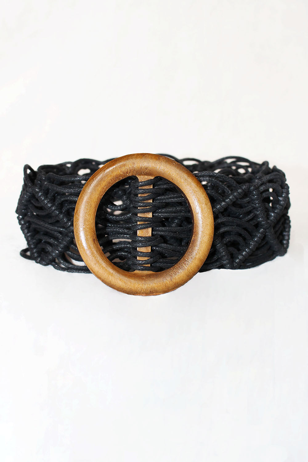 Woven Rope Belt with Wooden Buckle