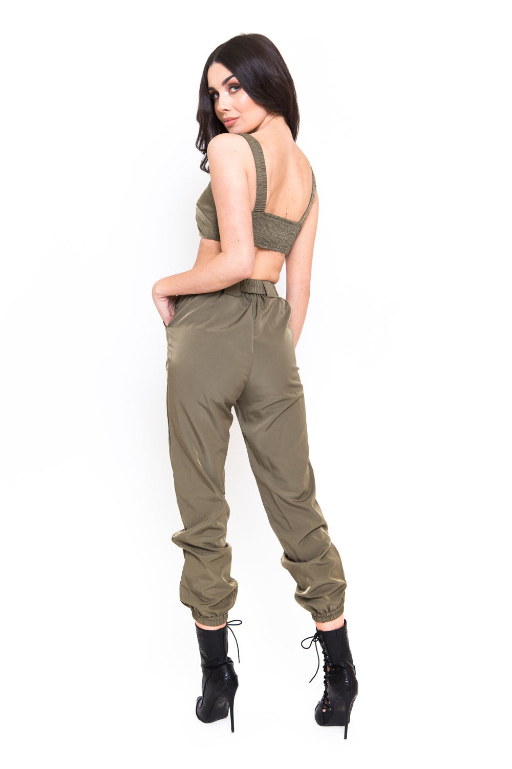 Khaki Utility Co-ord Crop Top