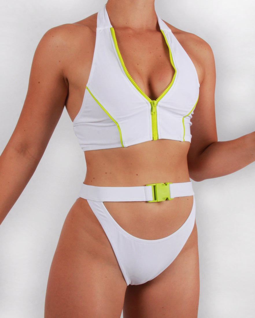 Zip Front Bikini Top in White with Lime Detailing